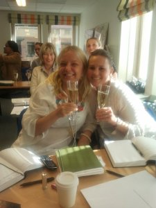 Celebrating the completion in style! Camilla and Sara.