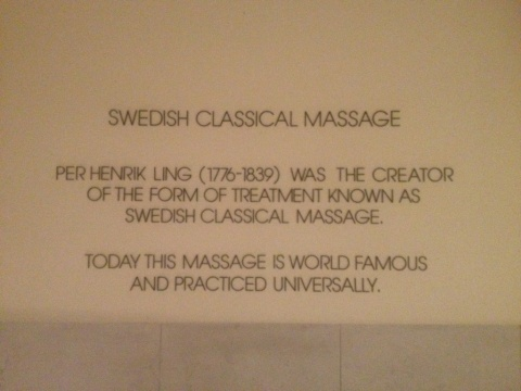 Wall inscriptionlabout Swedish Classic Massage at LivNoric Spa in Stockholm.